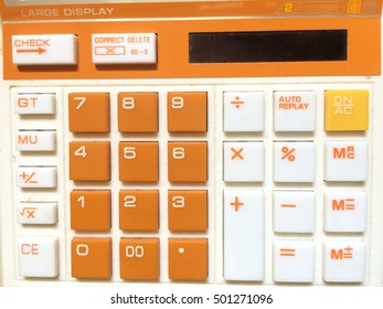 White orange calculator buttons