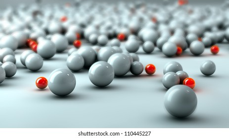 white and orange glass balls with depth of field