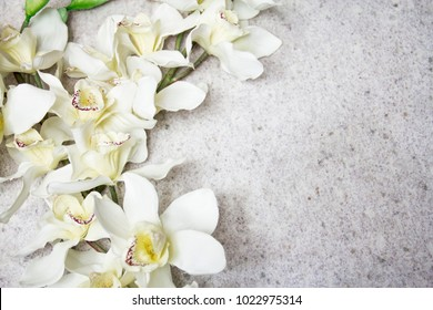 white orchids on white granite background,white flowers, spring flowers, most view