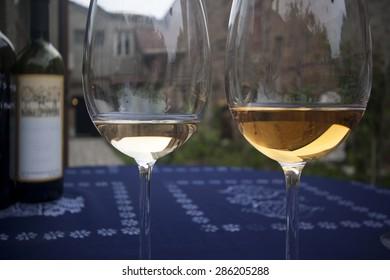 White organic wine in two glasses.