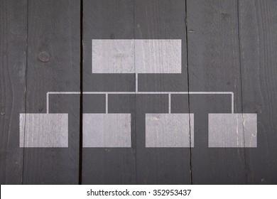 White organigram on black wooden background