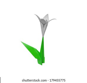 White origami flower lily isolated on white