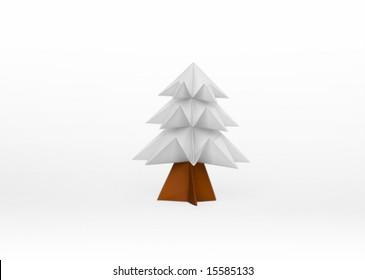 White origami tree