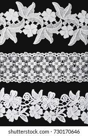 White Ornamentation Lace isolated on black background