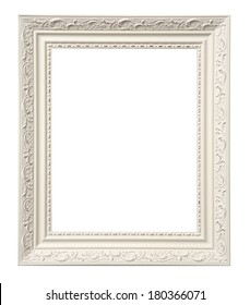 White ornate frame with space for picture on white background