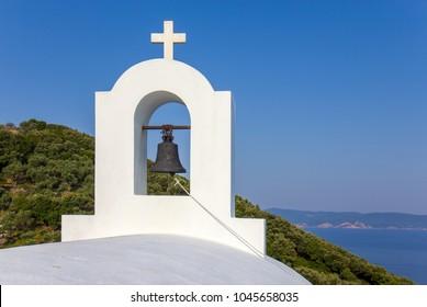 White orthodox church Agios Alexandros on the Skiathos island, Greece