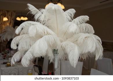 White ostrich feather ,white feathers, wedding decoration theme