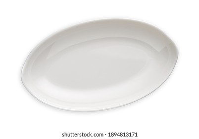 White oval plate, Empty deep plate in oval shape, View from above isolated on white background with clipping path