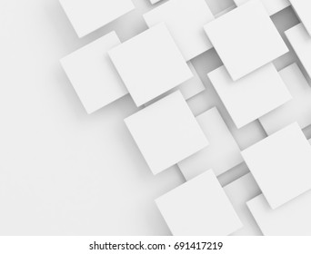 White overlapping squares. 3d illustration