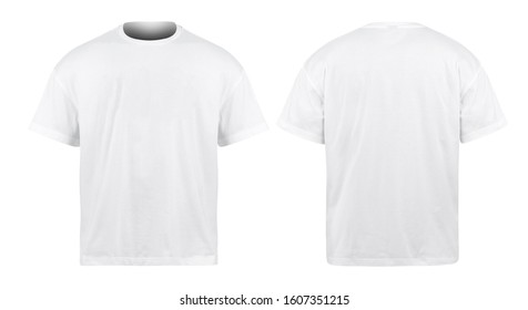 White Oversize T-shirts mockup front and back isolated on white background with clipping path.