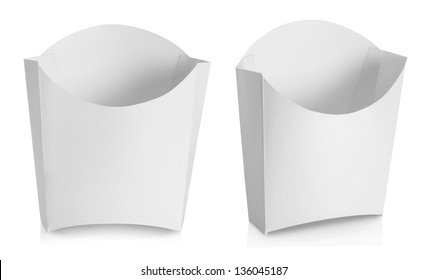 white Package container for french fries food products isolated over white background