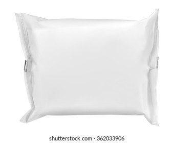 White packing wet wipes / wipes for intimate hygiene - isolated on white background