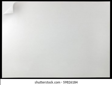 White Page Curl Background, isolated on black