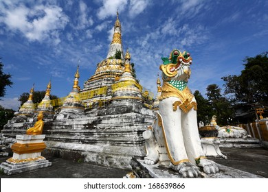 White pagoda with beautiful blue sky in Wat Luang at Pai, Mae Hong Son, Thailand