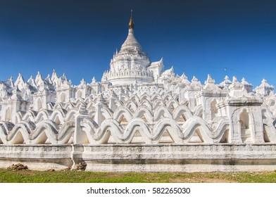 White pagoda of Hsinbyume aka Taj Mahal of Myanmar located in Mingun, Mandalay.