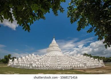 The white pagoda of Hsinbyume  is located near Mingun Pagoda,near Mandalay, Myanmar.