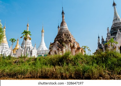 White Pagoda under a blue sky at Inle Lake Burma Myanmar