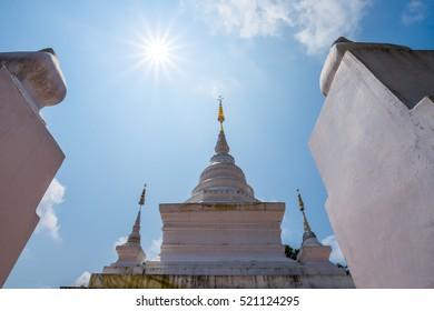 White pagoda of Wat Phra That Khao Noi, Nan Province, Thailand