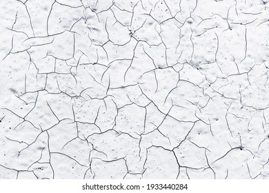 White paint black cracks background. Scratched lines texture. White and black distressed grunge concrete wall pattern for graphic design. Peel paint crack. Weathered rustic surface. Dry paint overlay.