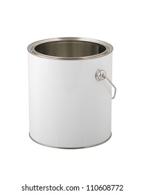 White paint can without label isolated on white