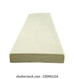 White paint coated pine wood board with the forced perspective and shallow depth of field composition, isolated over the white background