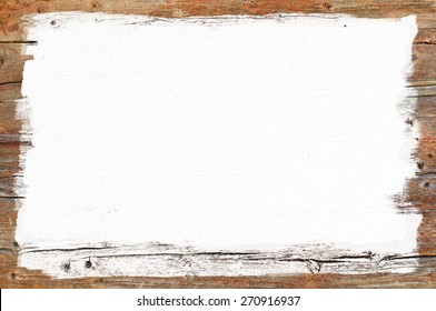 White painted area on wooden wall, empty signboard for text