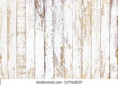 White painted and brown color of empty plank panel wood texture wall, old vintage grunge style with cracked of surface background for your text design, decoration or advertisement template, retro art
