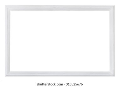white painted narrow wooden picture frame with cut out blank space isolated on white background