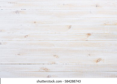 White painted old wooden planks table texture