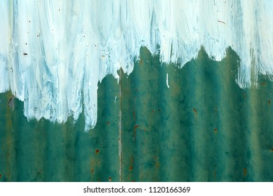 White Painted on Old Zinc Wall Background.