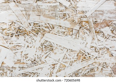White painted one layer oriented strand board OSB. Vintage OSB.
