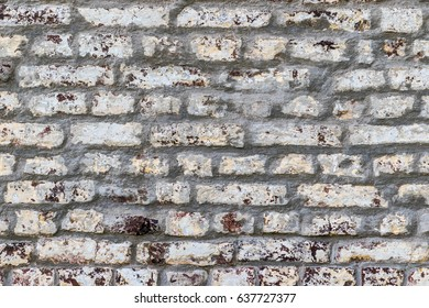 White painted red brick wall background middle shot
