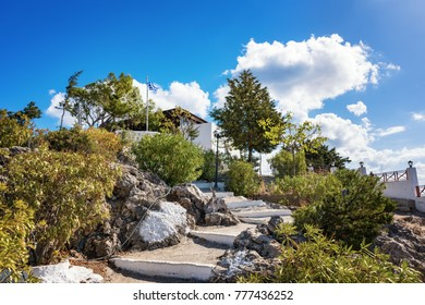white painted steps to Tsambika Monastery, (RHODES, GREECE)