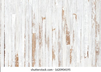 White painted wood texture seamless rusty grunge background, Scratched white paint on planks of wood wall.