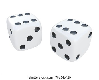 white pair of dice with black spots isolated on a white background 3d rendering