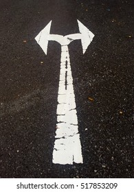 White paited arrow indicated the two possible ternable in the next junction. Road symbol.