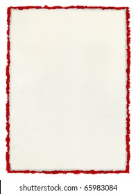 Charming A White Paper Background With Deckled Edges Over A Deckled Red Watercolor  Border.