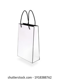 White paper bag isolated on white background. Design element with clipping path