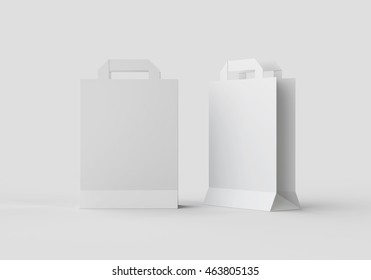 White Paper bag mock-up template for branding identity on gray background for graphic designers presentations and portfolios. 3D rendering.