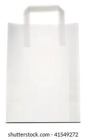 a white paper bag on white