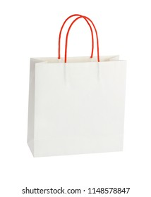 White Paper Bag With Red Handle on White Background