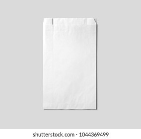 White paper bag for your logo and design. Easy to change colors.White background.Paper package.Packing.Paper bag.Mock up