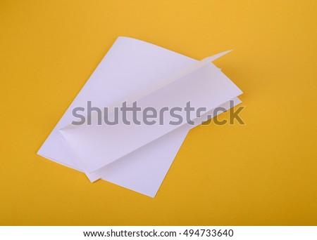 white paper bifold fourfold brochure mockup stock photo edit now