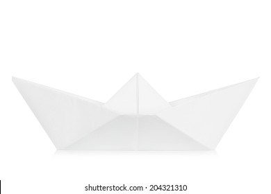 white paper boat isolated on white