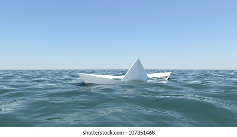 White paper boat is sinking in the sea water. The blue sky background