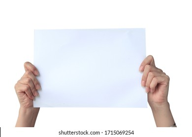 White paper in both hands