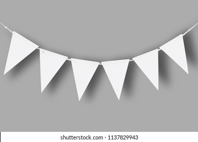 White paper bunting party flags isolated on gray background with natural shadows. Template - Shutterstock ID 1137829943