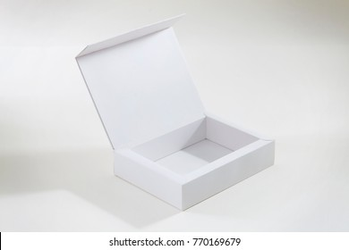 White paper or carton product cardboard package Box isolated on white background. Carton pack for cookie, sweets, candies or cake.