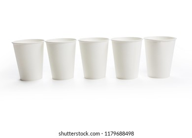 White paper coffee cup on white background.