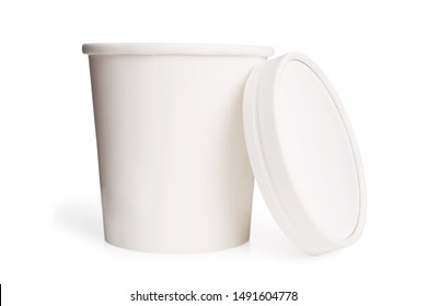 White paper cup or bucket with lid isolated on white background. Dairy product packaging mockup